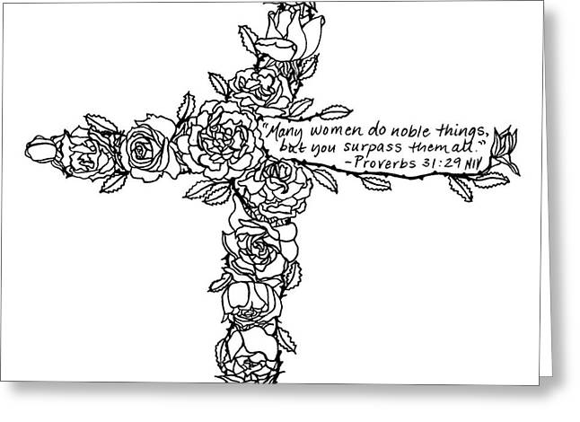 Roses Cross Greeting Card by Leigh Eldred