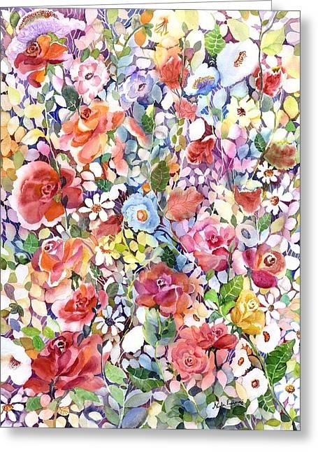 Roses Do Ramble Greeting Card by Neela Pushparaj