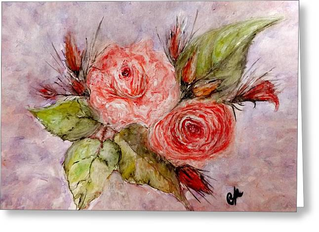 Greeting Card featuring the painting Roses For You... by Cristina Mihailescu