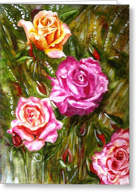 Greeting Card featuring the painting Roses by Harsh Malik