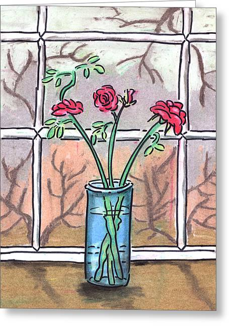 Roses In A Glass Vase Greeting Card by Estefan Gargost
