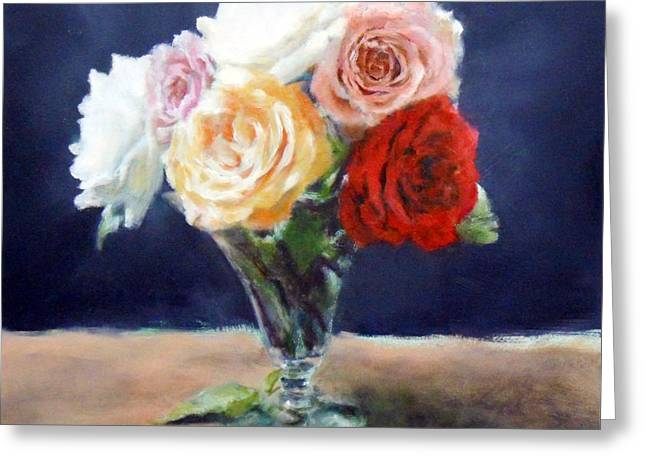 Roses In A Trumpet Vase Greeting Card by Jill Brabant