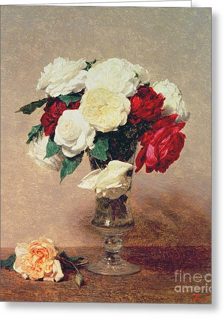 Roses In A Vase With Stem Greeting Card
