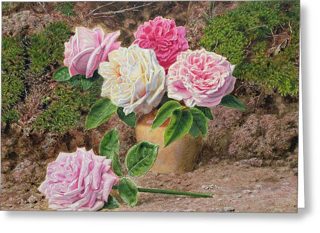 Roses In An Earthenware Vase By A Mossy Greeting Card by John Sherrin