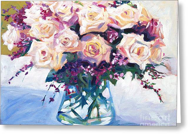 Roses In Glass Greeting Card by David Lloyd Glover
