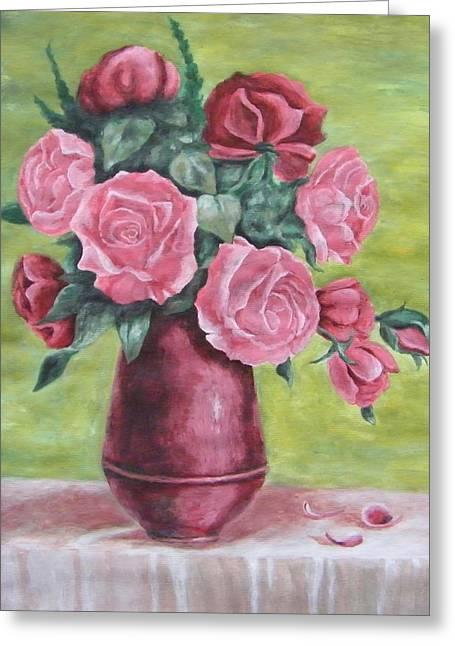 Roses In Vase Greeting Card by Vlatka Kelc