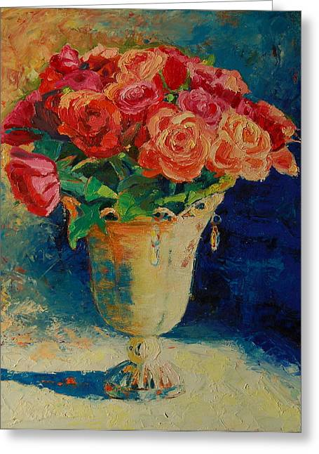 Roses In Wire Vase Greeting Card