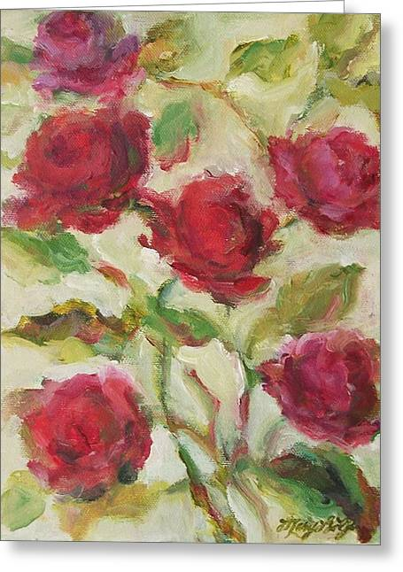 Greeting Card featuring the painting Roses by Mary Wolf