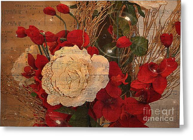 Roses Music Bubbles And Love Greeting Card by Kathy Baccari