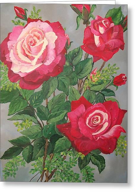 Roses N' Rain Greeting Card