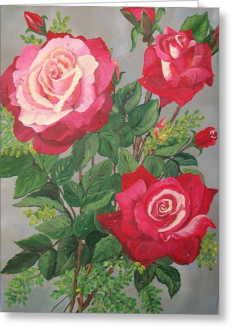 Roses N' Rain Greeting Card