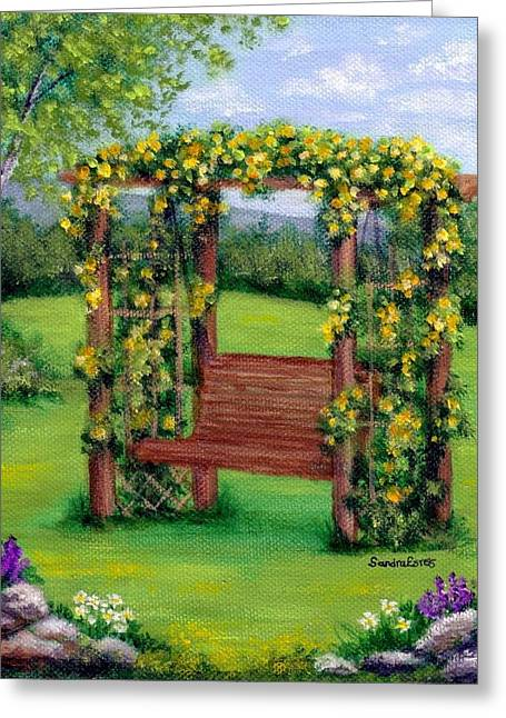 Roses On The Arbor Swing Greeting Card