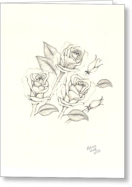 Greeting Card featuring the drawing Roses by Patricia Hiltz