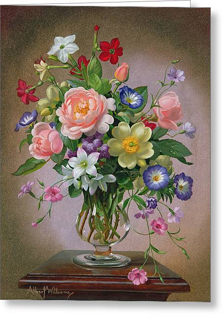 Roses Peonies And Freesias In A Glass Vase Greeting Card by Albert Williams