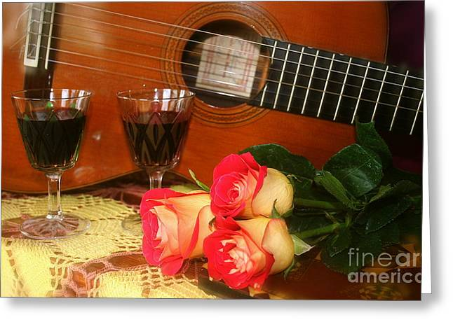 Guitar 'n Roses Greeting Card