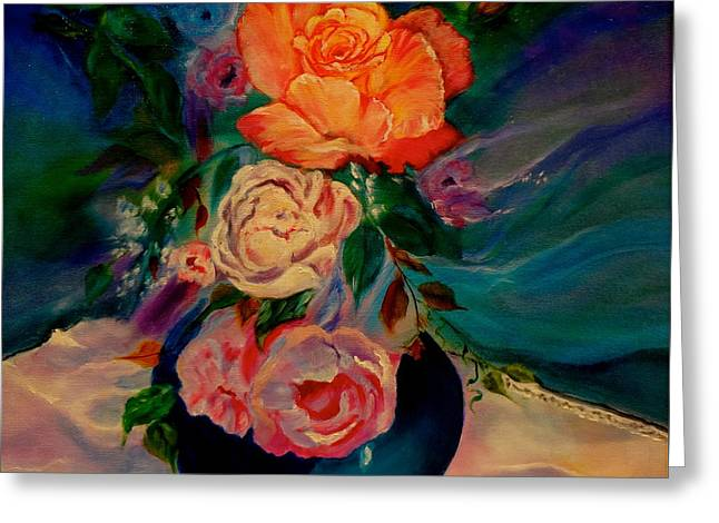 Greeting Card featuring the painting Roses Roses Roses by Jenny Lee