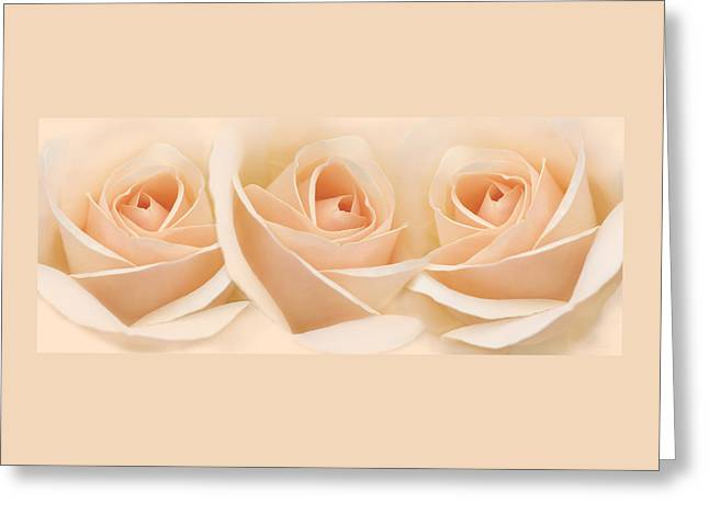 Roses Three Peach Floral Greeting Card by Jennie Marie Schell