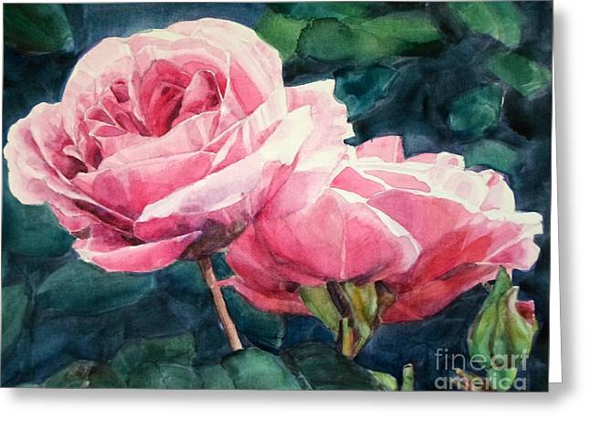 Watercolor Of Two Luscious Pink Roses Greeting Card