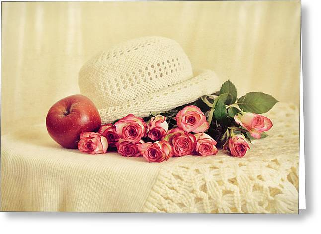 Roses With Apple Greeting Card by Gynt Art