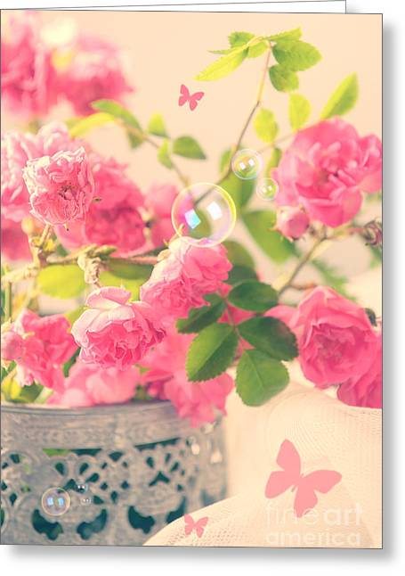 Roses With Butterflies  Greeting Card