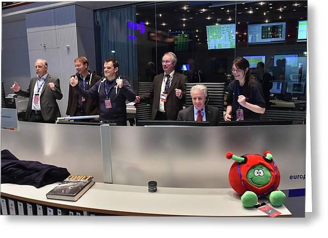 Rosetta Mission Control Team Greeting Card by Esa/j. Mai