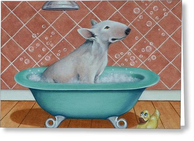 Greeting Card featuring the painting Rosie In The Bliss Bubbles by Cynthia House