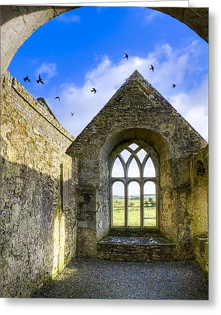 Greeting Card featuring the photograph Ross Errilly Friary - Irish Monastic Ruins by Mark E Tisdale