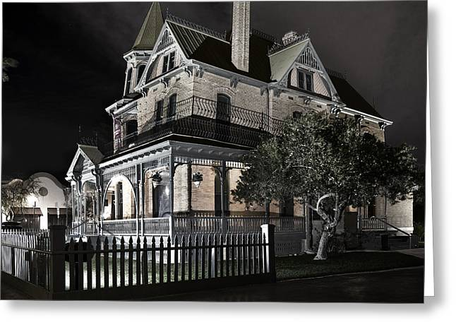 Rosson House Haunted Black And White Greeting Card
