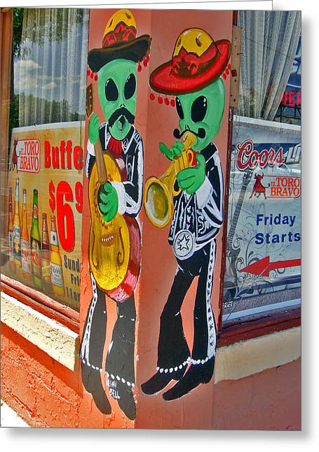 Roswell Aliens Greeting Card by Gregory Dyer
