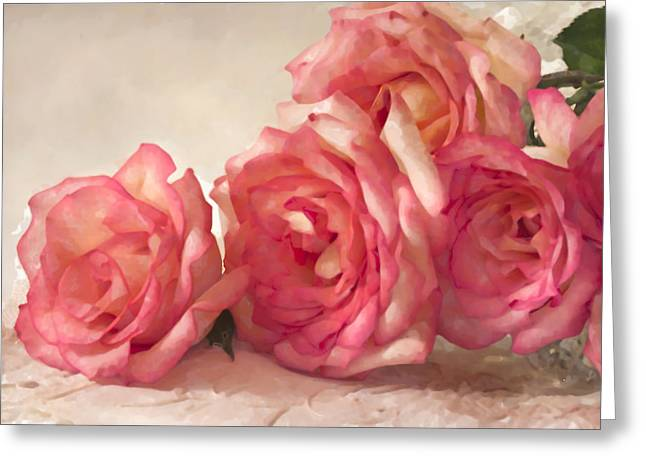 Greeting Card featuring the photograph Rosy Elegance Digital Watercolor by Sandra Foster