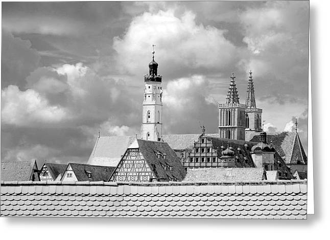 Rothenburg Towers In Black And White Greeting Card