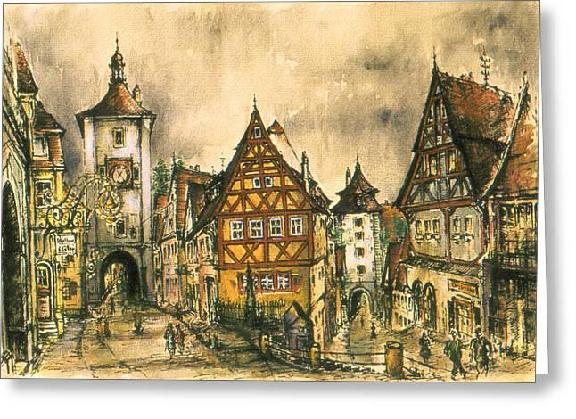 Rothenburg Bavaria Germany - Romantic Watercolor Greeting Card