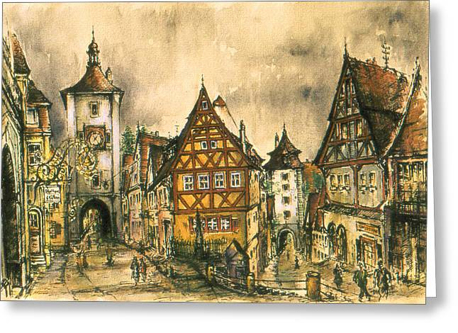 Rothenburg Bavaria Germany - Romantic Watercolor Greeting Card
