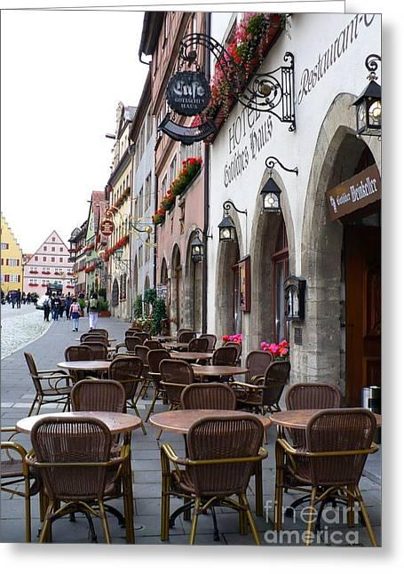 Rothenburg Cafe Greeting Card by Carol Groenen