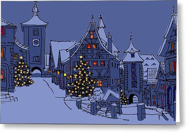 Rothenburg Ob Der Tauber Greeting Card by Mary Helmreich