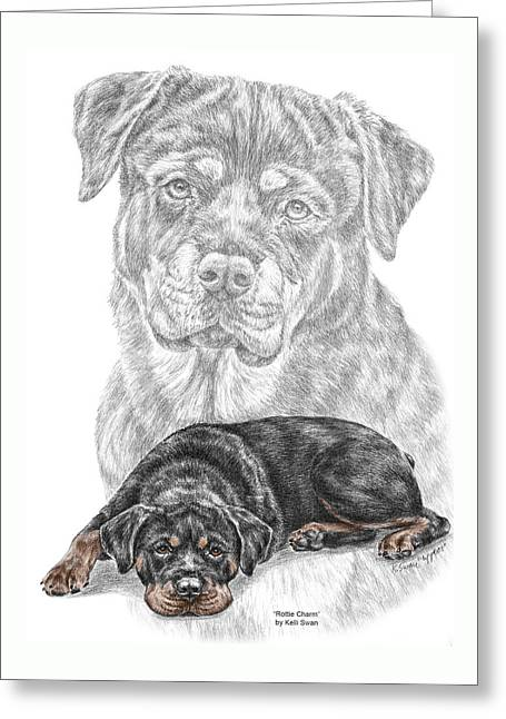 Rottie Charm - Rottweiler Dog Print With Color Greeting Card by Kelli Swan