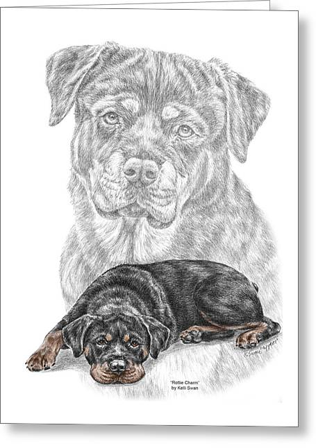 Rottie Charm - Rottweiler Dog Print With Color Greeting Card