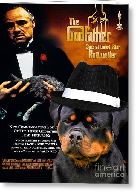 Rottweiler Art Canvas Print - The Godfather Movie Poster Greeting Card by Sandra Sij