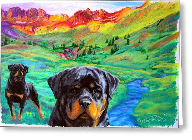 Rottweiler Dogs Landscape Painting Bright Colors Greeting Card
