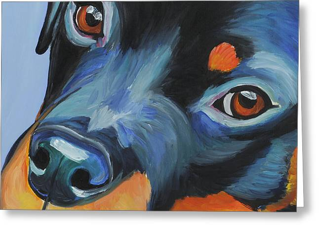 Rottweiler Greeting Card by Melissa Smith