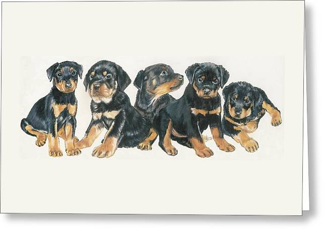 Rottweiler Puppies Greeting Card by Barbara Keith