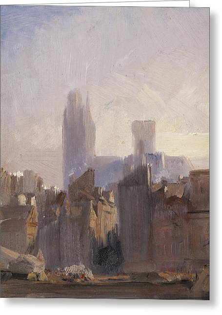 Rouen Cathedral Sunrise Greeting Card by Richard Parkes Bonnington