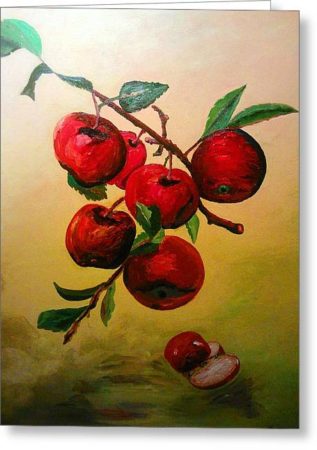 Greeting Card featuring the painting Rough Apples by Ray Khalife