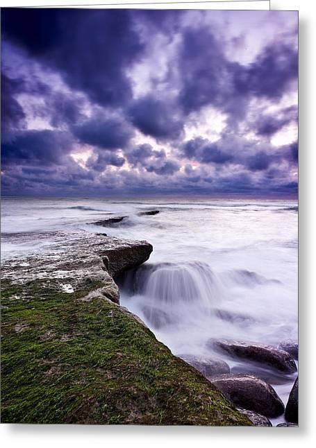 Rough Sea Greeting Card by Jorge Maia