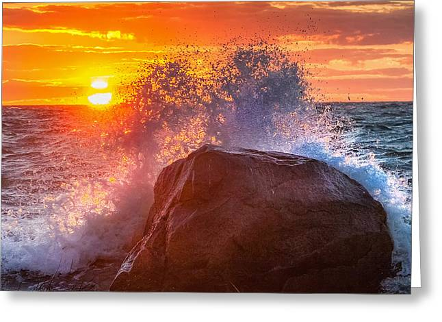 Rough Sea Square Greeting Card by Bill Wakeley
