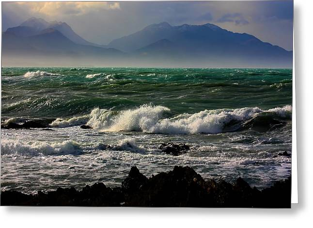 Greeting Card featuring the photograph Rough Seas Kaikoura New Zealand by Amanda Stadther