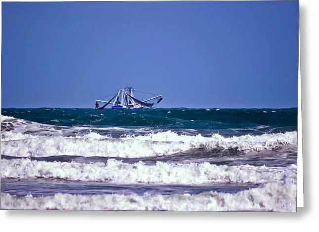 Greeting Card featuring the photograph Rough Seas Shrimping by DigiArt Diaries by Vicky B Fuller
