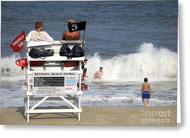 Rough Water At Bethany Beach In Delaware  Greeting Card