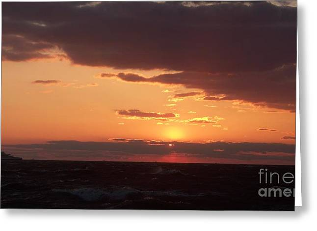 Rough Waves At Sunset Greeting Card by Eric  Schiabor