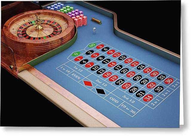 Roulette Table And Wheel Greeting Card by Leonello Calvetti